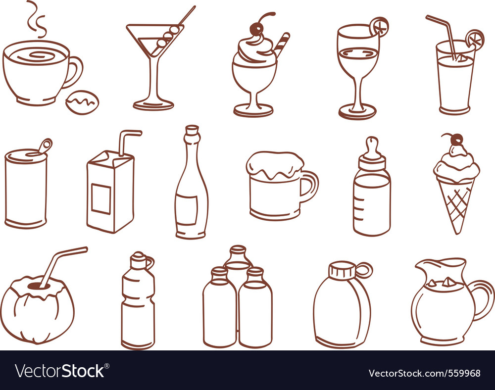 Beverage related icon set vector | Price: 1 Credit (USD $1)
