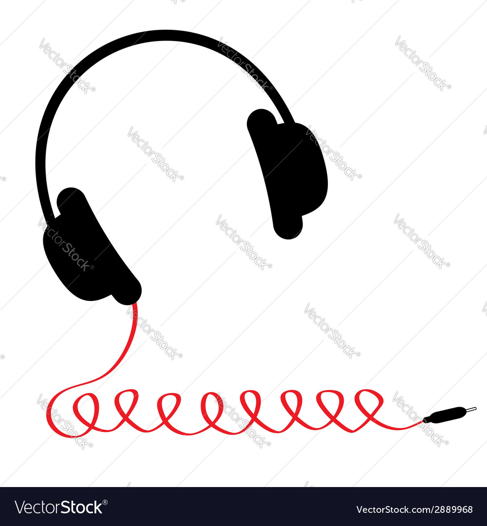 Black headphones with red spring cord music card vector | Price: 1 Credit (USD $1)