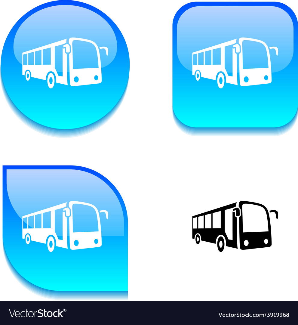 Bus glossy button vector   Price: 1 Credit (USD $1)