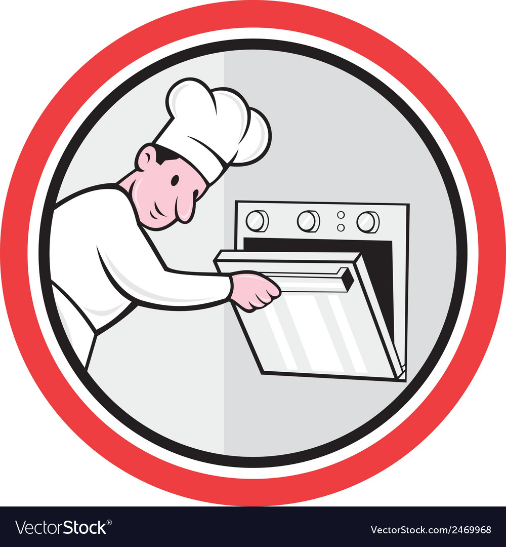 Chef cook baker opening oven circle cartoon vector | Price: 1 Credit (USD $1)