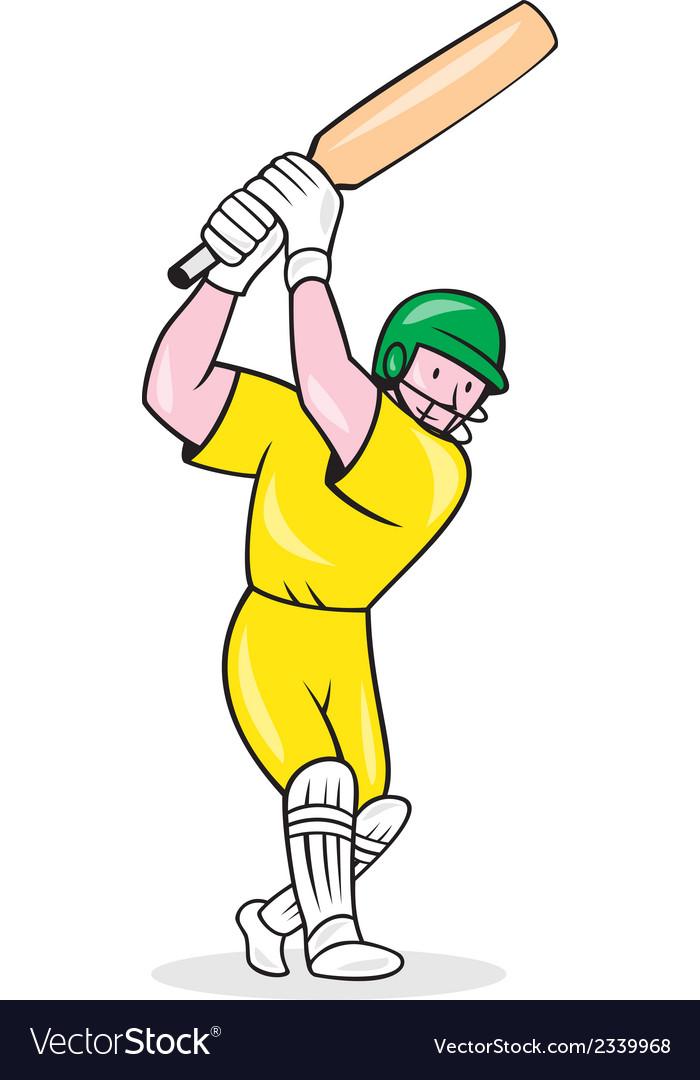 Cricket player batsman batting cartoon vector | Price: 1 Credit (USD $1)