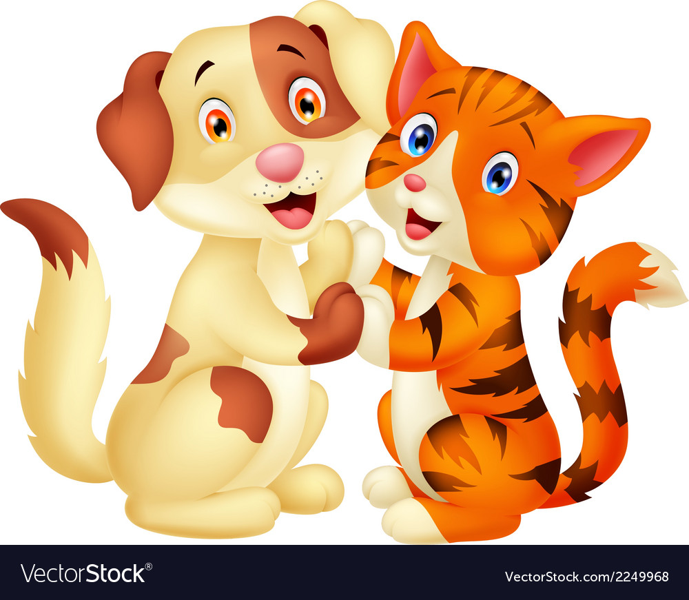 Cute cat and dog cartoon vector   Price: 1 Credit (USD $1)