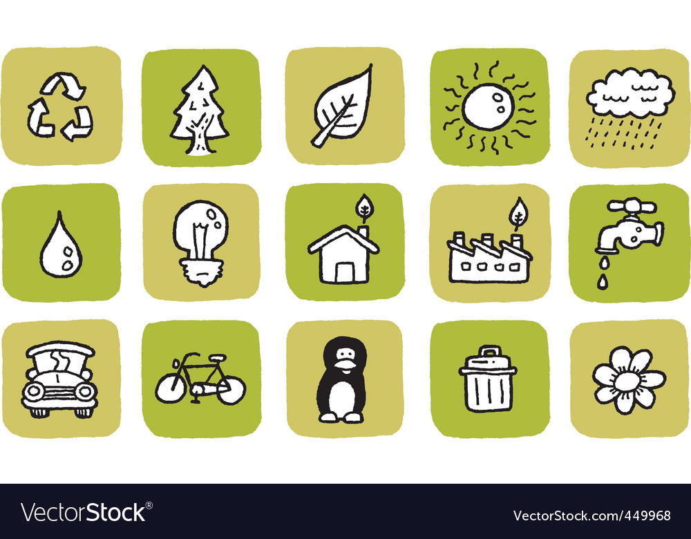 Doodle icon set eco vector | Price: 1 Credit (USD $1)