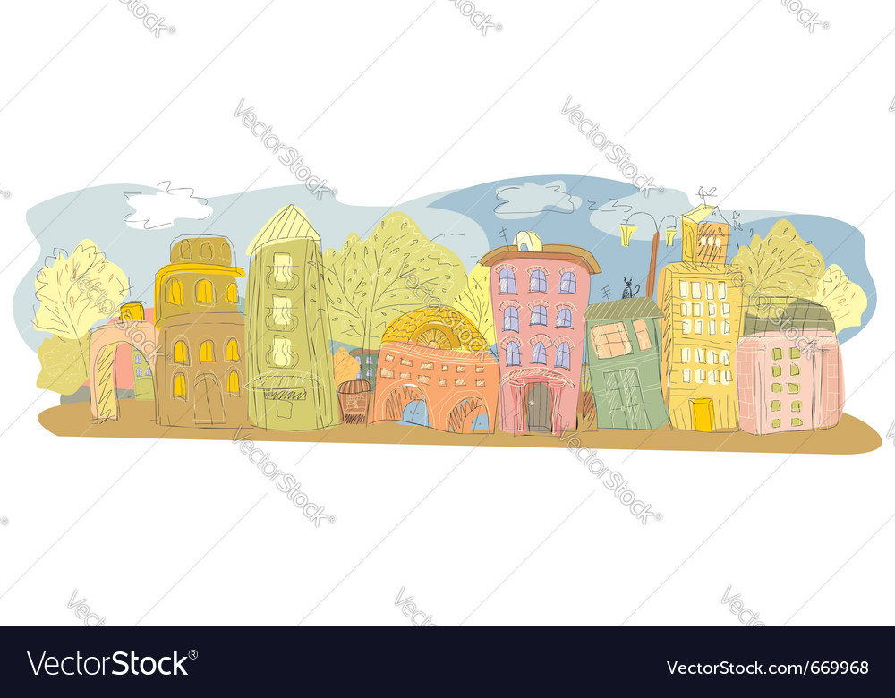 Drawing of a provincial city vector | Price: 3 Credit (USD $3)