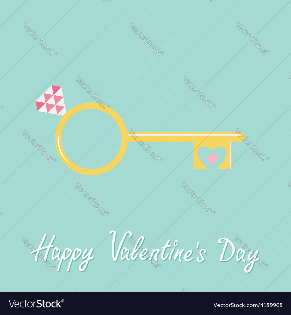 Golden heart key wedding engagement ring vector | Price: 1 Credit (USD $1)