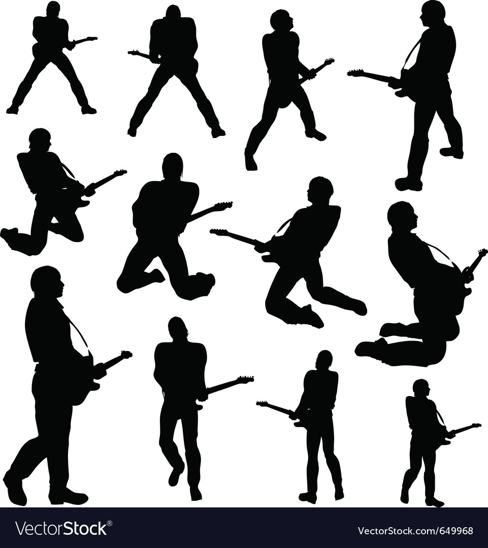 Guitarist silhouettes vector | Price: 1 Credit (USD $1)