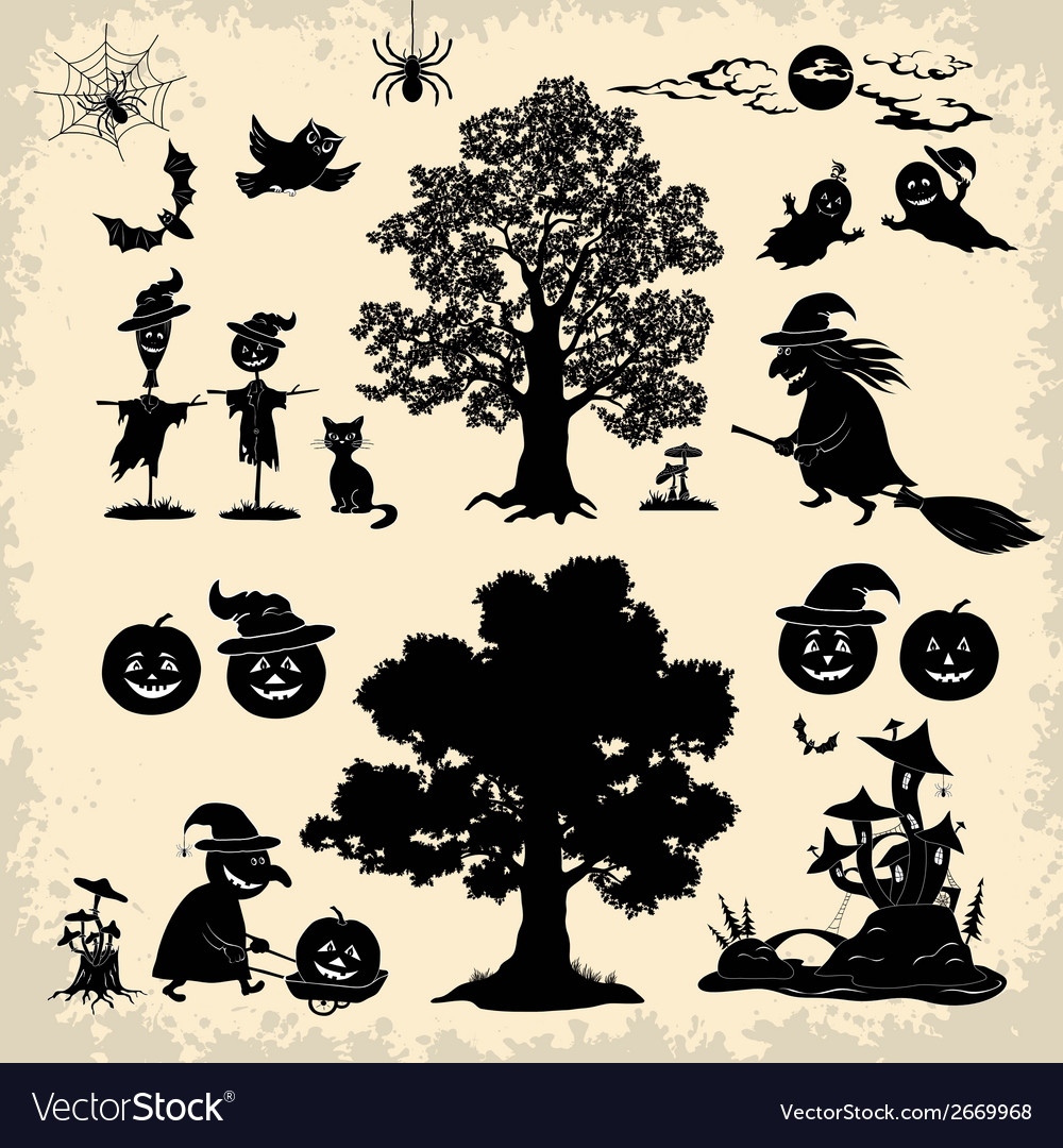 Halloween objects and subjects set silhouette vector | Price: 1 Credit (USD $1)