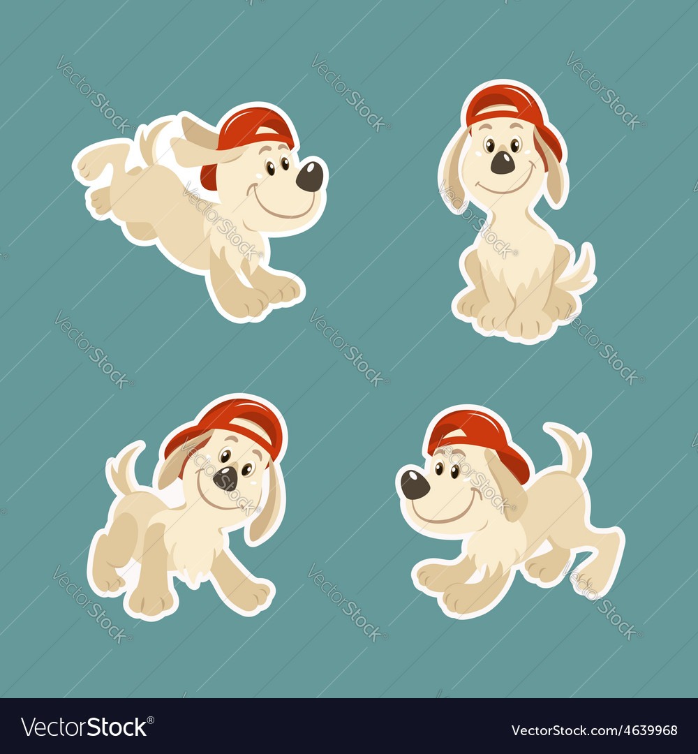 Puppy dog character design set vector | Price: 1 Credit (USD $1)