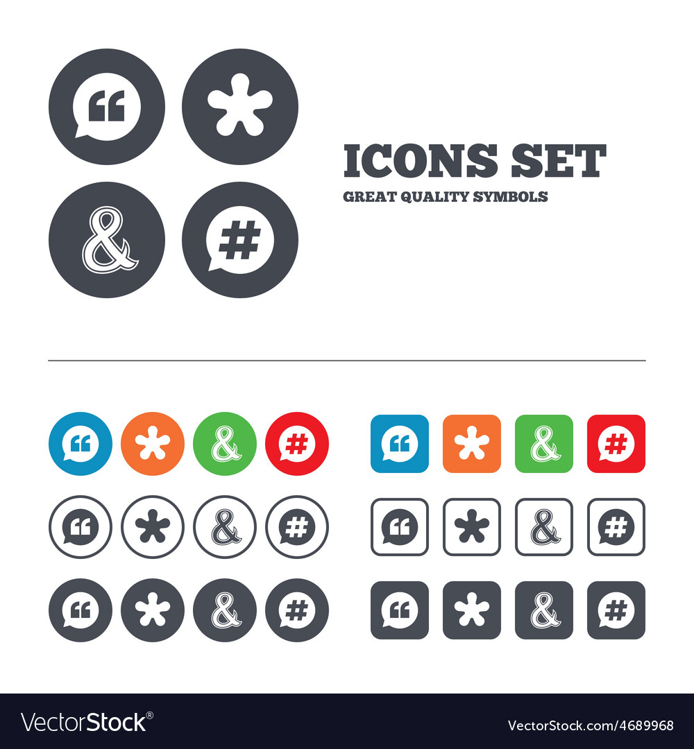 Quote asterisk footnote icons hashtag symbol vector | Price: 1 Credit (USD $1)