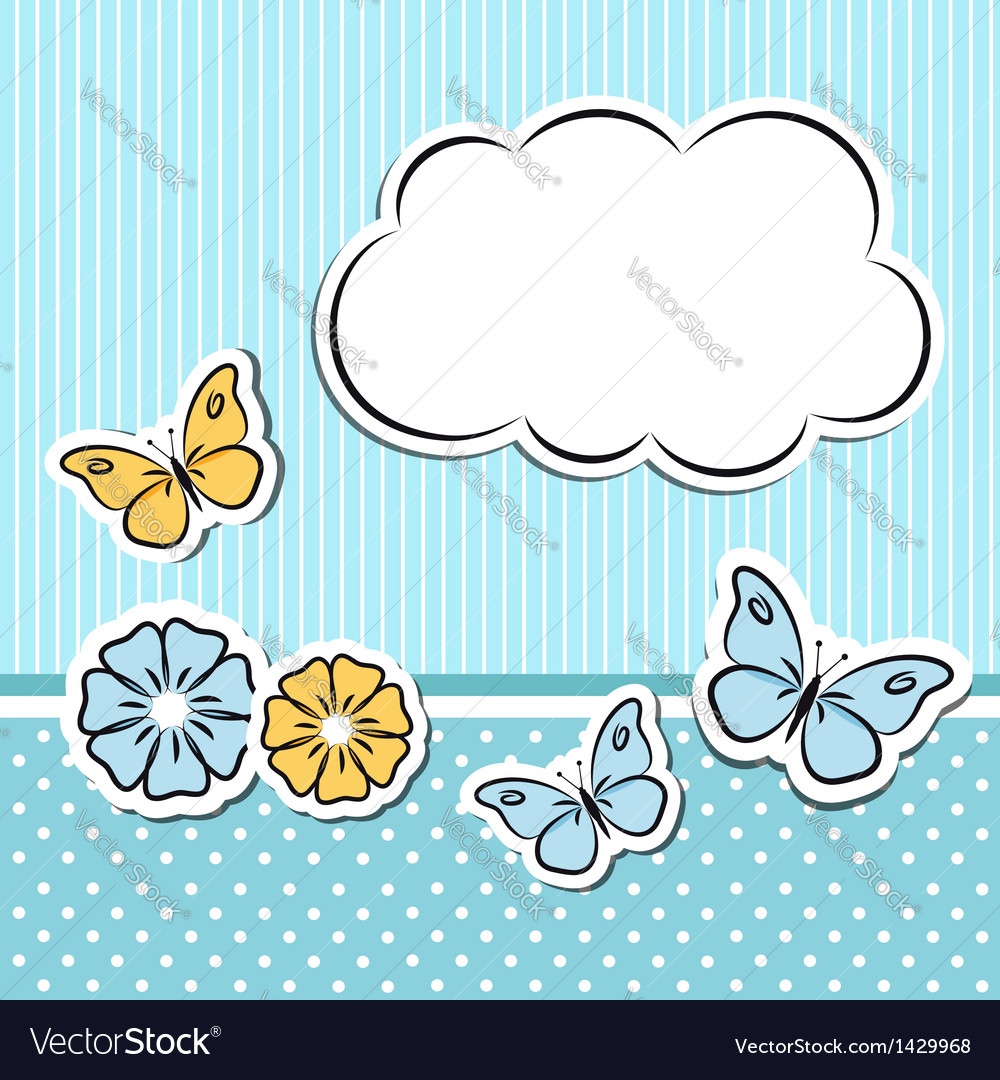Scrapbook frame with flowers and butterflies vector | Price:  Credit (USD $)