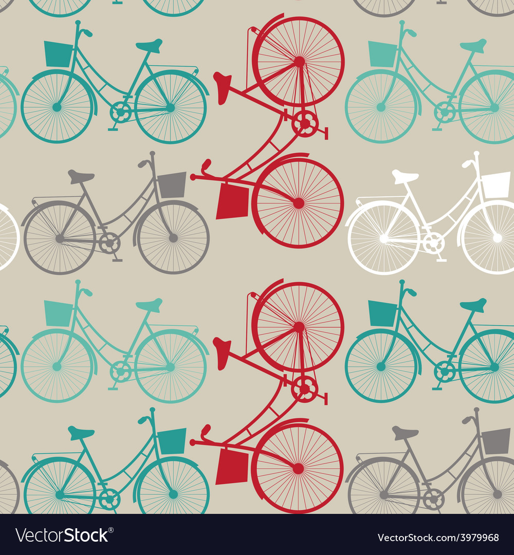 Vintage seamless background with bicycles vector | Price: 1 Credit (USD $1)