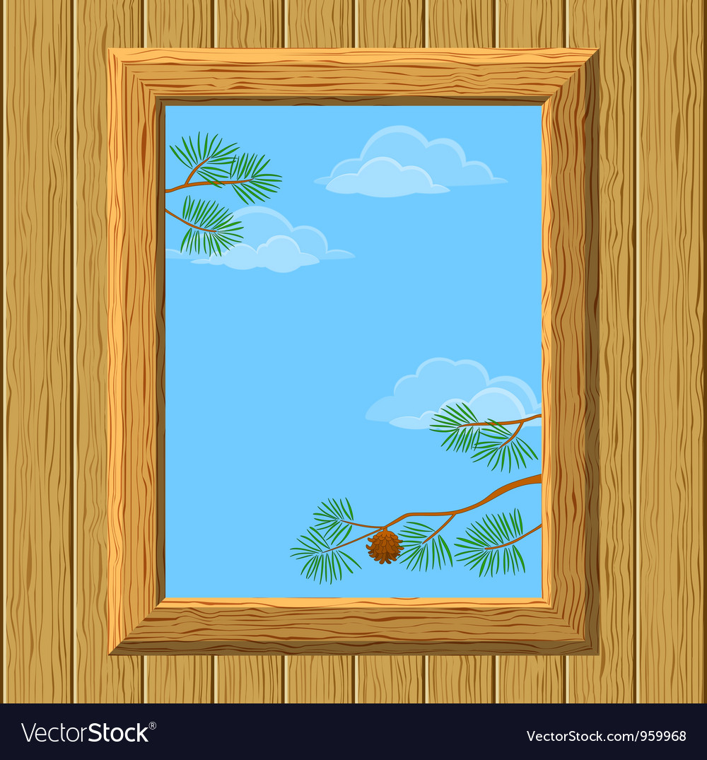Wood window with pine branches vector | Price: 1 Credit (USD $1)