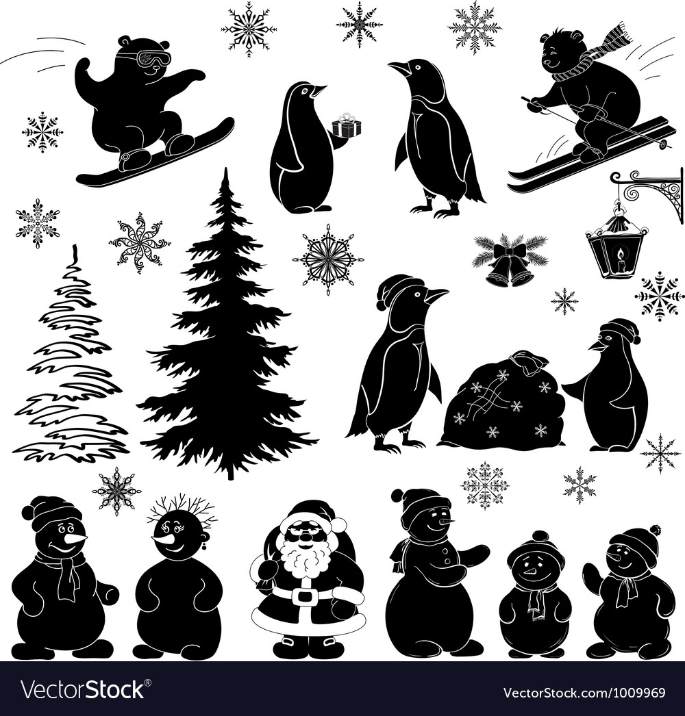 Christmas cartoon set black silhouettes vector | Price: 1 Credit (USD $1)