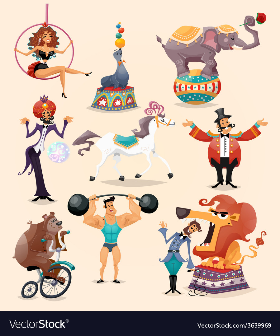 Circus icons set vector | Price: 3 Credit (USD $3)