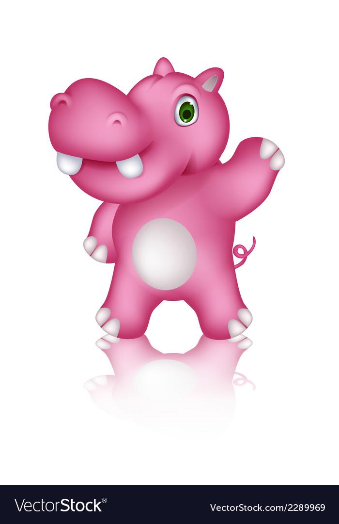 Cute hippo cartoon posing vector | Price: 1 Credit (USD $1)