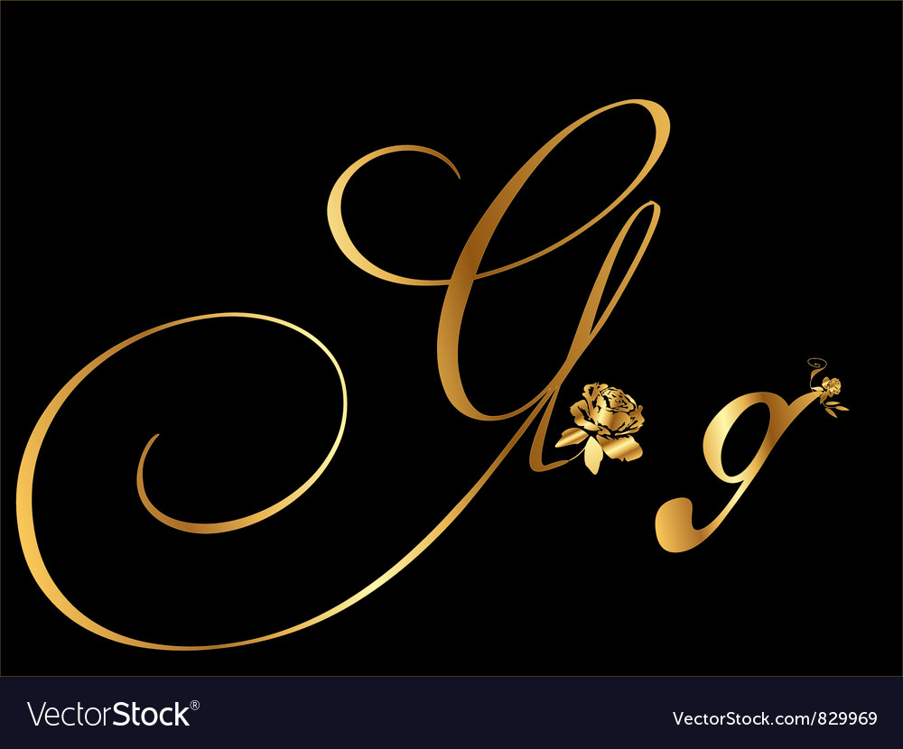 Gold letter g with roses vector   Price: 1 Credit (USD $1)