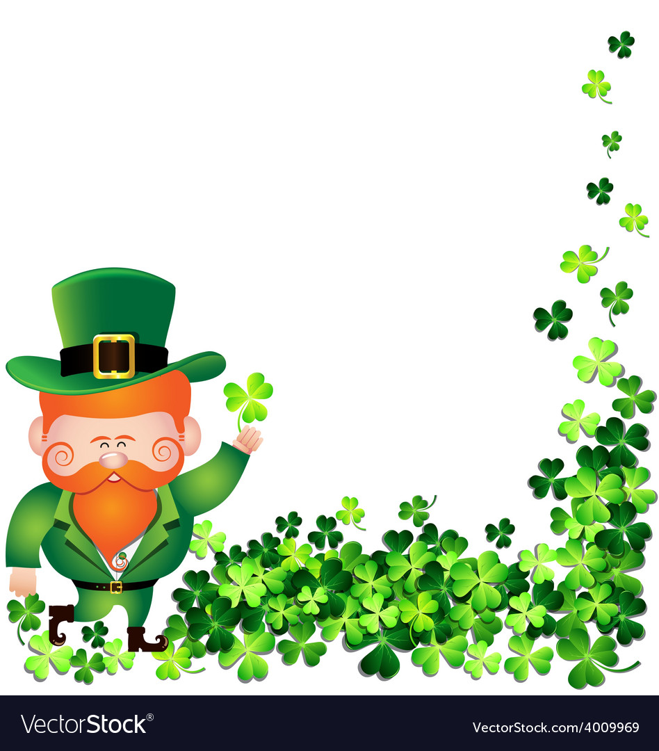 Irish man with shamrock frame for st patricks day vector | Price: 1 Credit (USD $1)