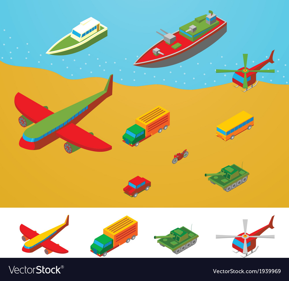 Isometric transportation collection vector | Price: 1 Credit (USD $1)