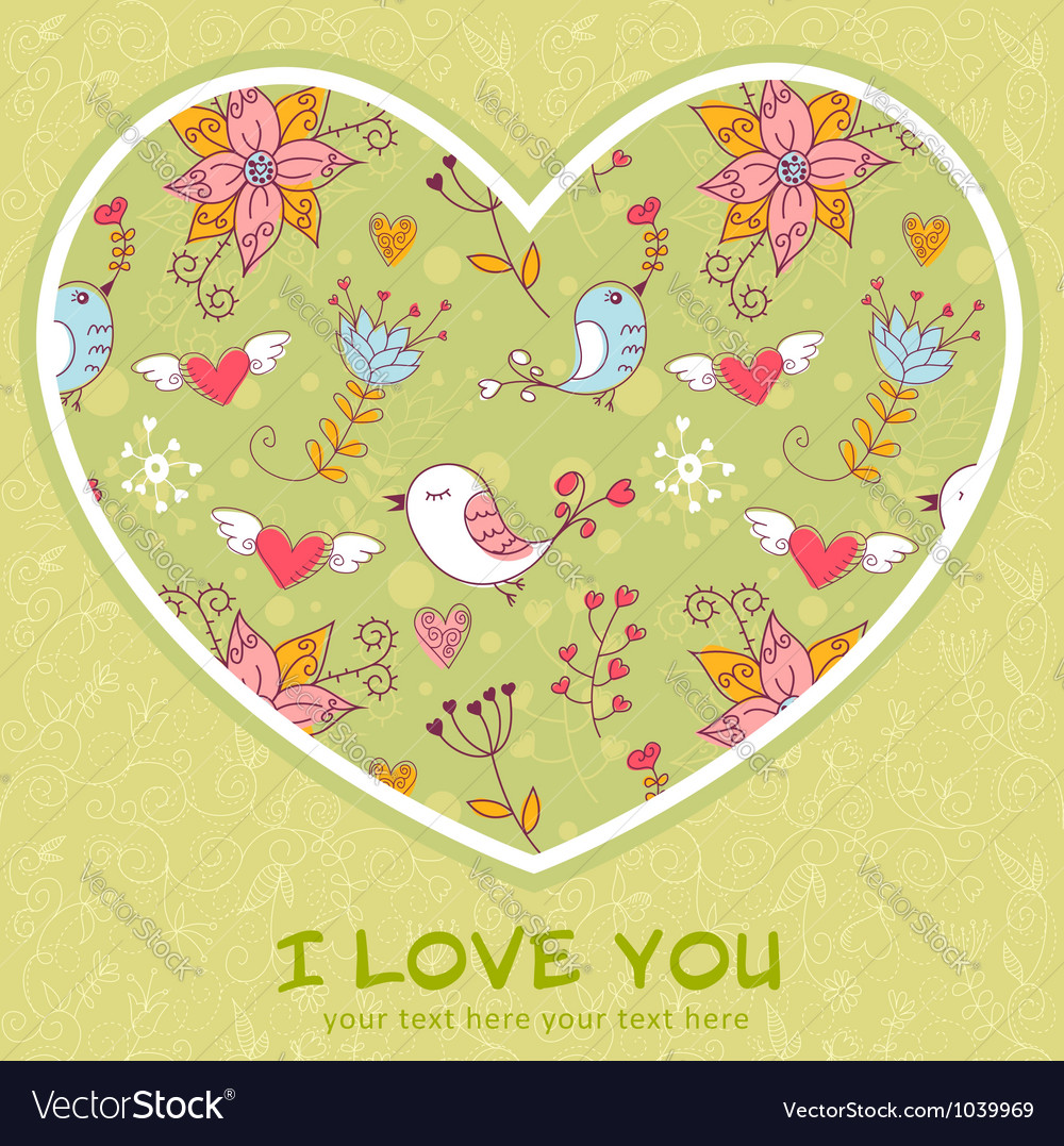 Lovely colorful invitation postcard with big heart vector | Price: 1 Credit (USD $1)
