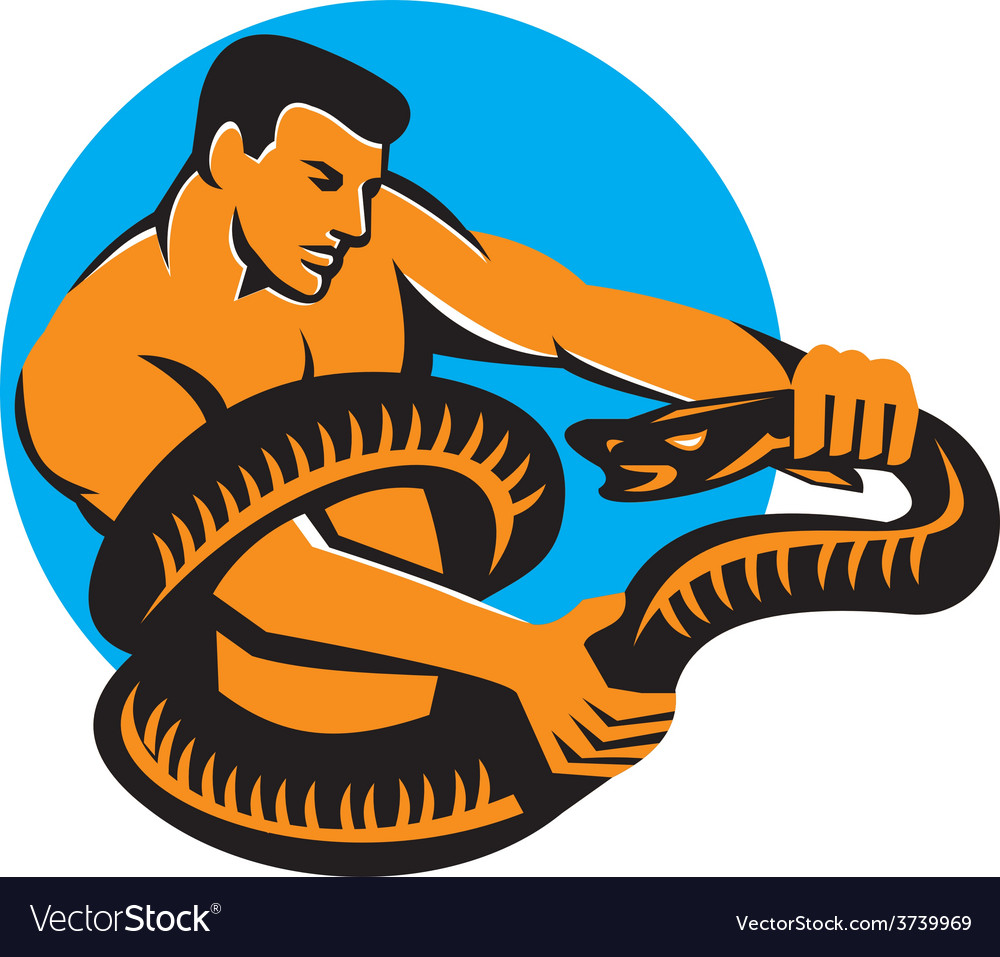 Man fighting boa constrictor snake retro vector | Price: 1 Credit (USD $1)