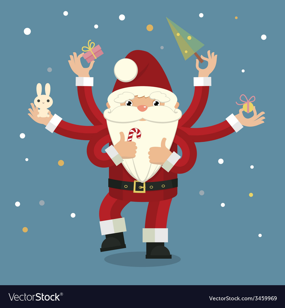 Many-armed santa claus on blue vector   Price: 1 Credit (USD $1)
