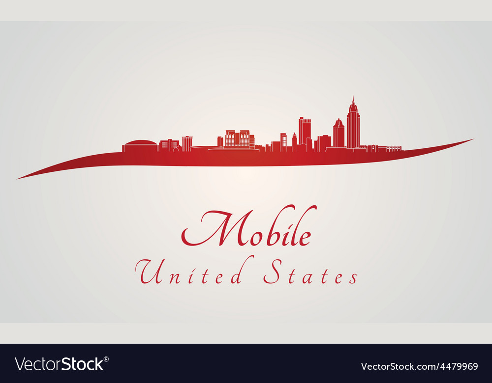 Mobile skyline in red vector | Price: 1 Credit (USD $1)