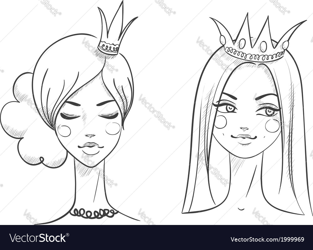 Princess sketches style vector   Price: 1 Credit (USD $1)