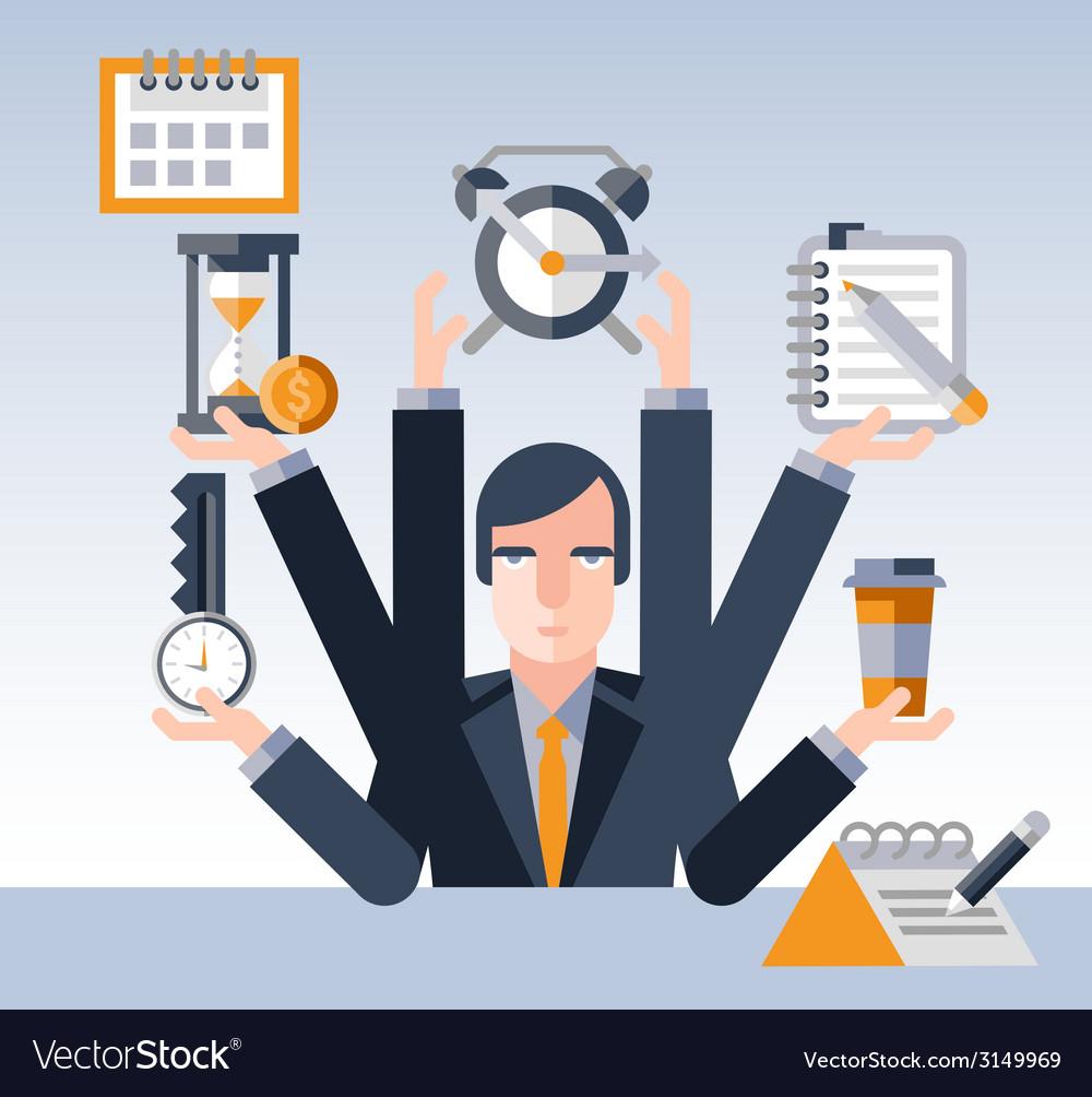 Time management businessman vector | Price: 1 Credit (USD $1)