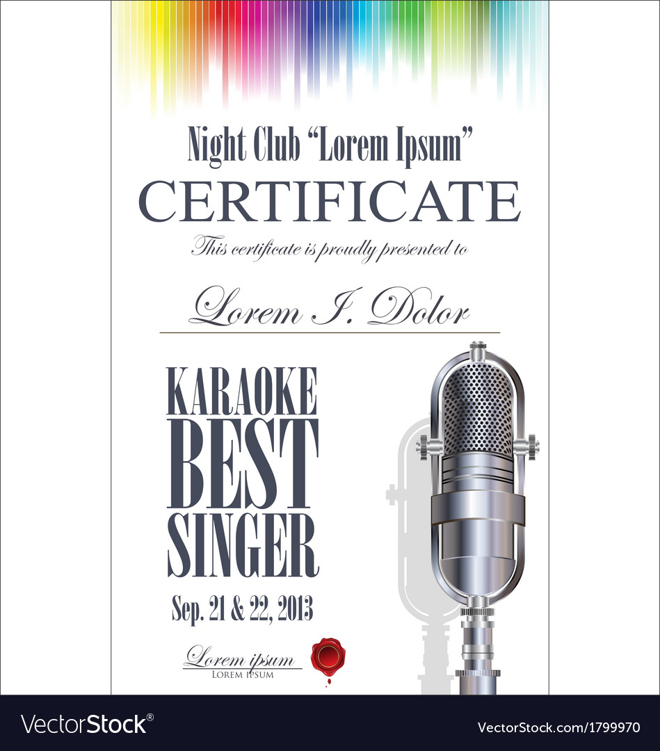 Certificate best karaoke singer vector | Price: 1 Credit (USD $1)