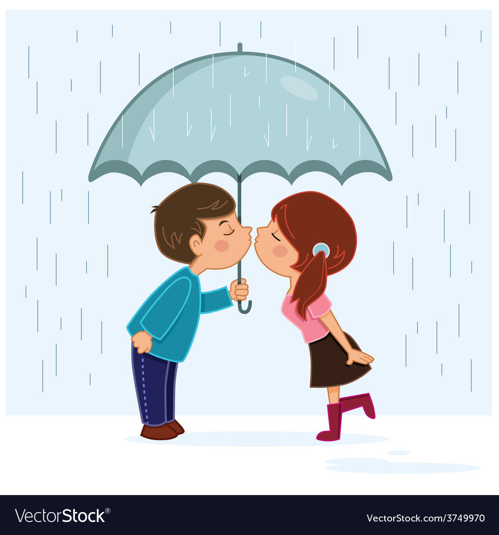 Couple kissing in the rain vector | Price: 1 Credit (USD $1)