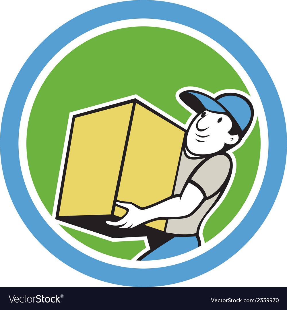 Delivery worker carrying package cartoon vector | Price: 1 Credit (USD $1)
