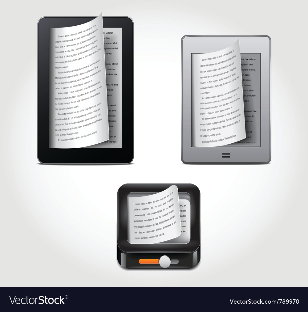 E-reader icons vector | Price: 1 Credit (USD $1)