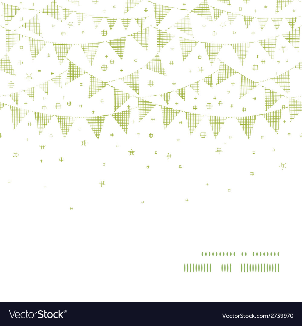 Green textile party bunting horizontal frame vector | Price: 1 Credit (USD $1)