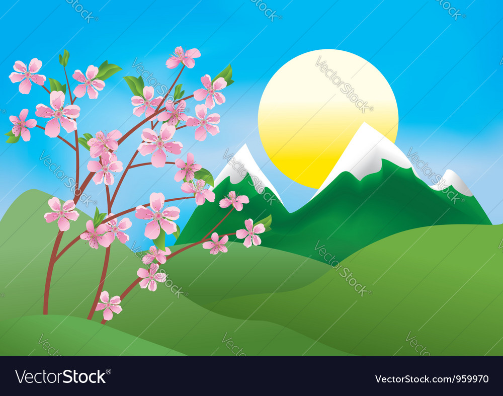 Landscape with peach tree vector | Price: 1 Credit (USD $1)