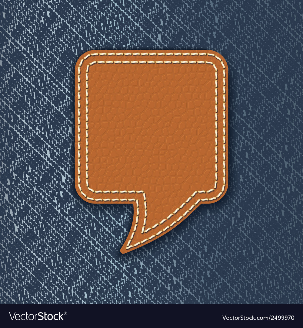 Leather speech bubble on jeans texture vector | Price: 1 Credit (USD $1)