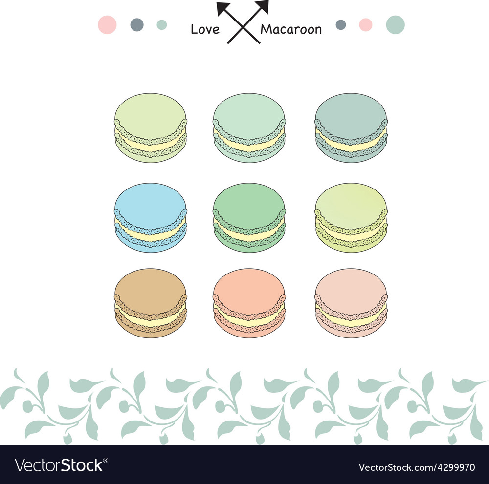 Macaroon sweet set vector | Price: 1 Credit (USD $1)