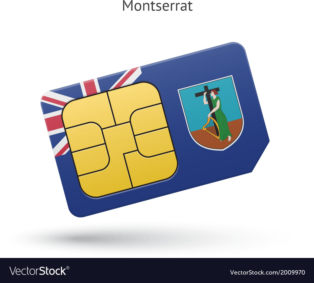 Montserrat mobile phone sim card with flag vector | Price: 1 Credit (USD $1)