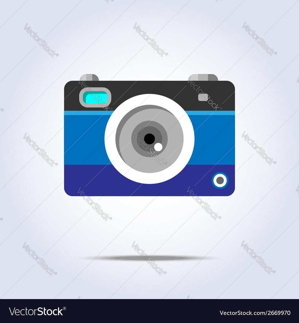 Photo camera icon blue color vector | Price: 1 Credit (USD $1)