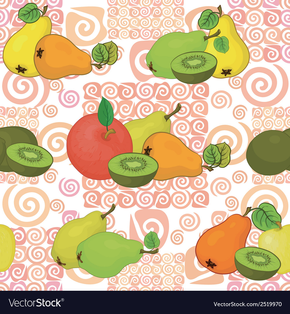 Seamless pattern and fruits vector | Price: 1 Credit (USD $1)