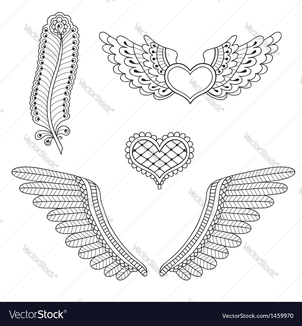 Set tattoo hearts wings feather vector | Price: 1 Credit (USD $1)