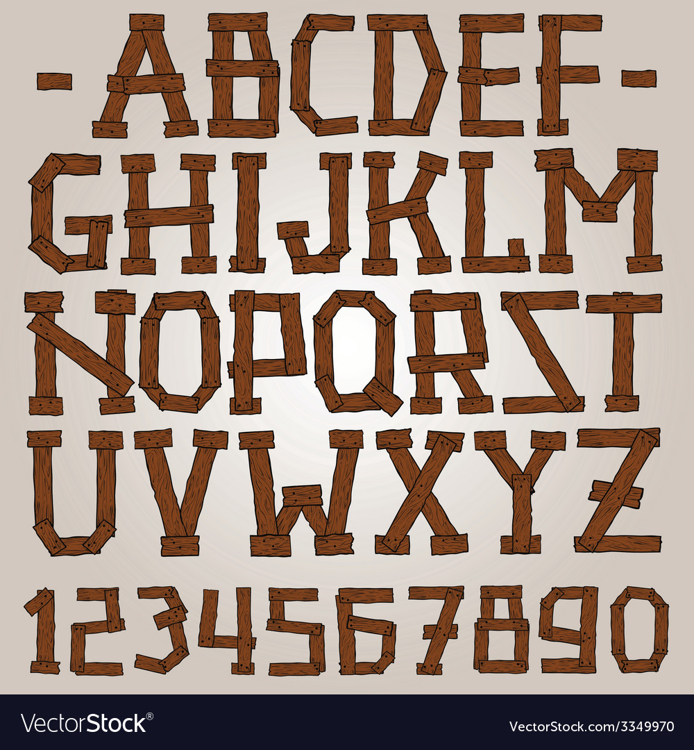Wooden planks font vector | Price: 1 Credit (USD $1)