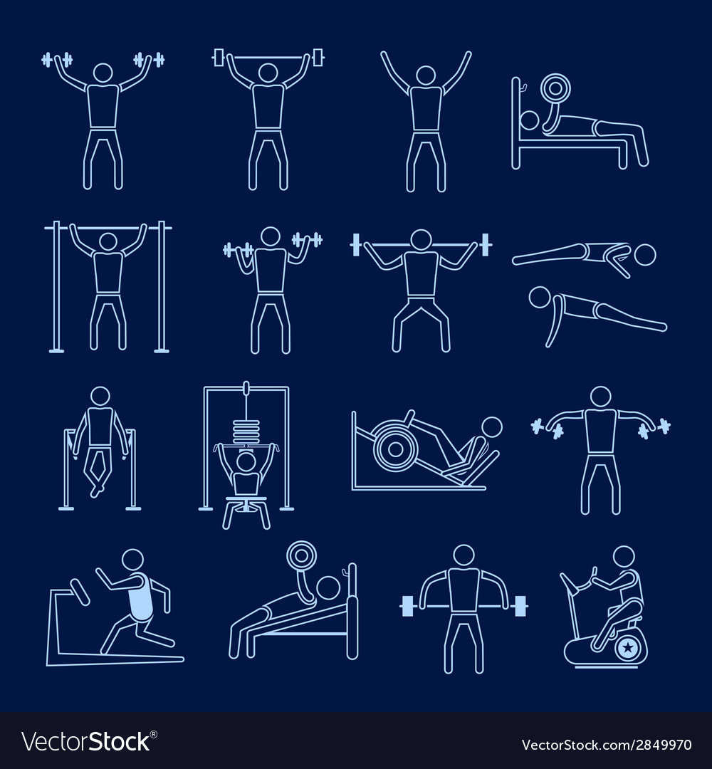 Workout training icons set outline vector | Price: 1 Credit (USD $1)