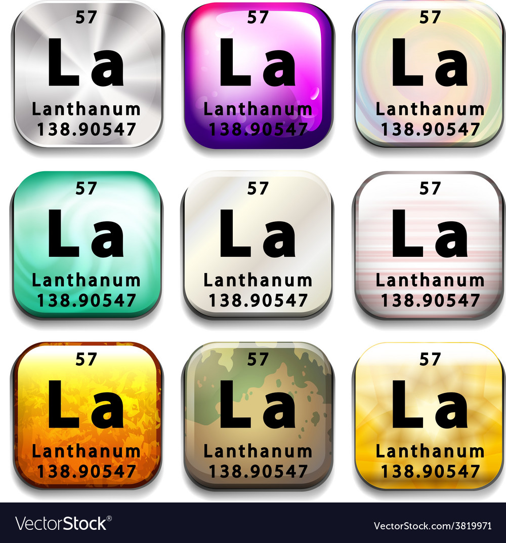 An icon with the chemical element lanthanum vector | Price: 1 Credit (USD $1)