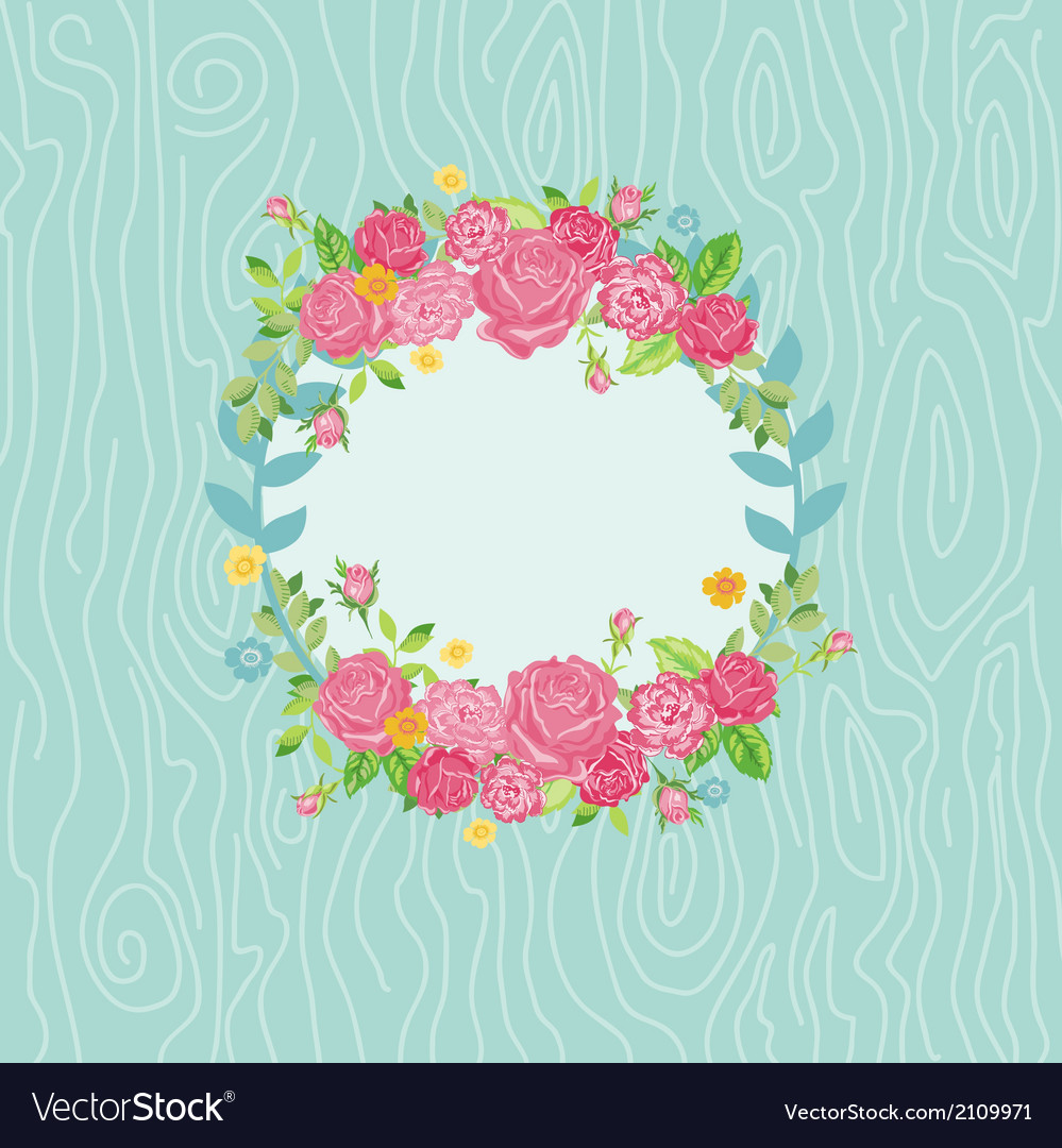 Beautiful card with floral wreath vector | Price: 1 Credit (USD $1)