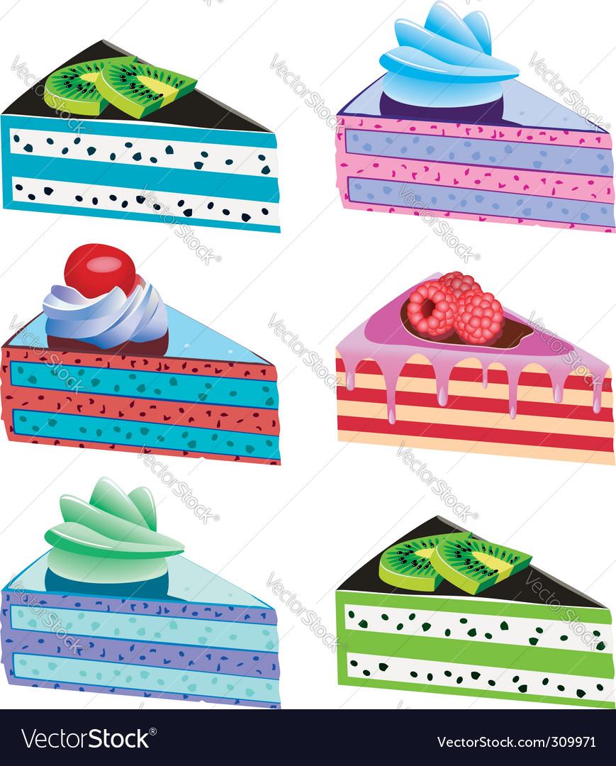 Cake slices vector | Price: 3 Credit (USD $3)