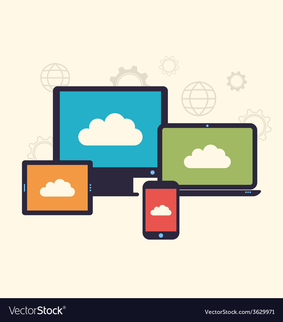 Concept of cloud service and mobile devices trendy vector   Price: 1 Credit (USD $1)