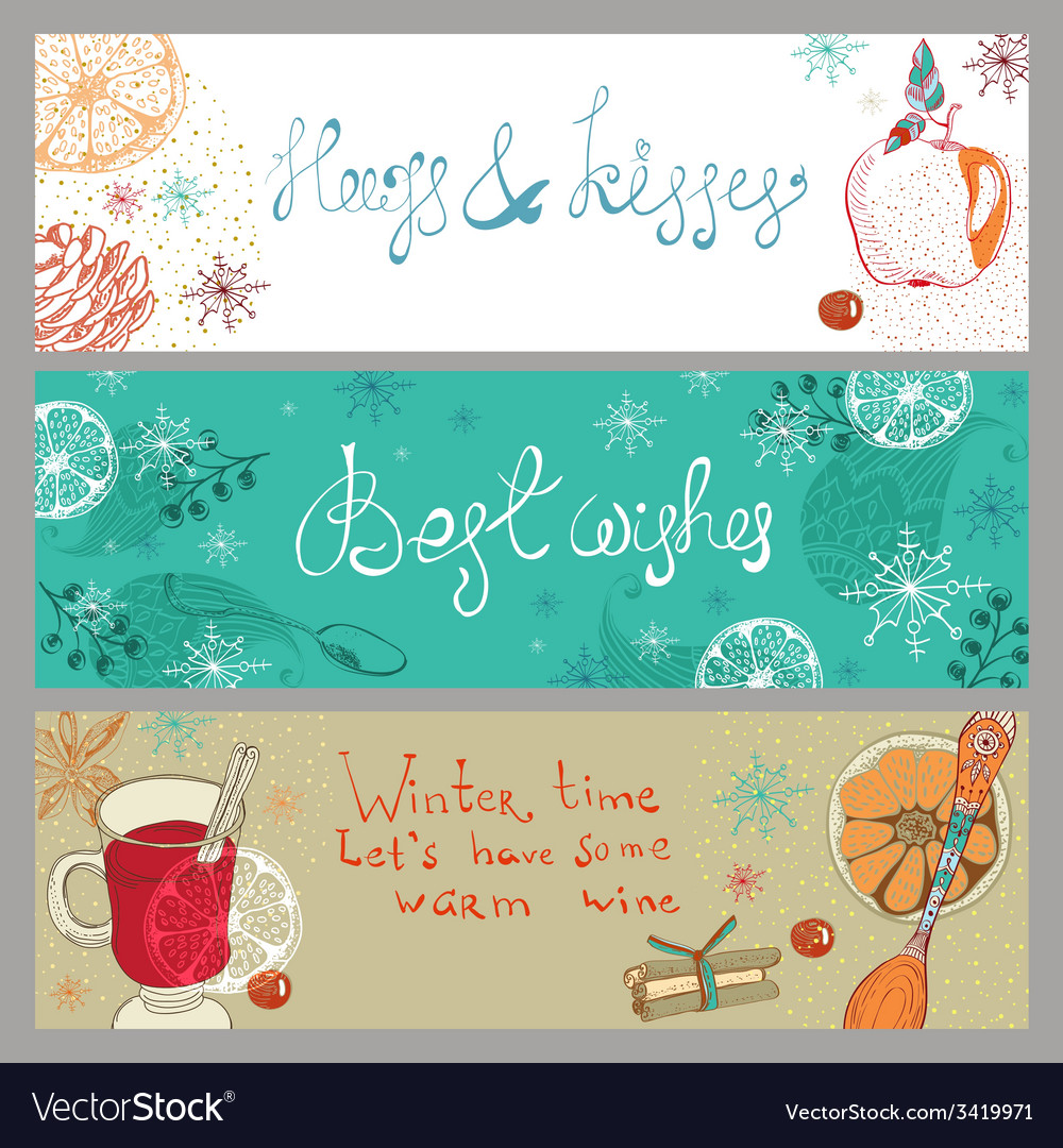 Doodle background with mulled warm wine and fruits vector | Price: 1 Credit (USD $1)