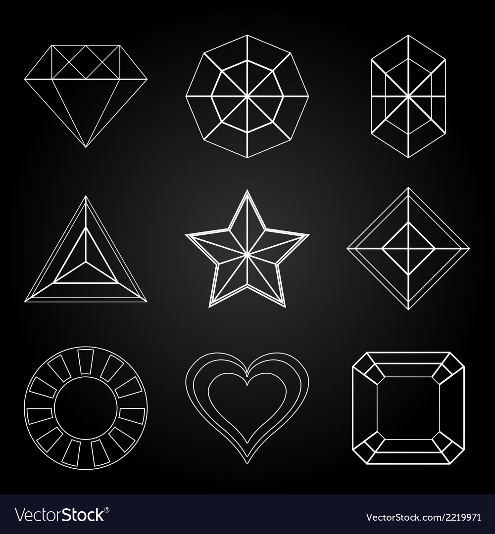 General gem shape icons on dark background vector | Price: 1 Credit (USD $1)