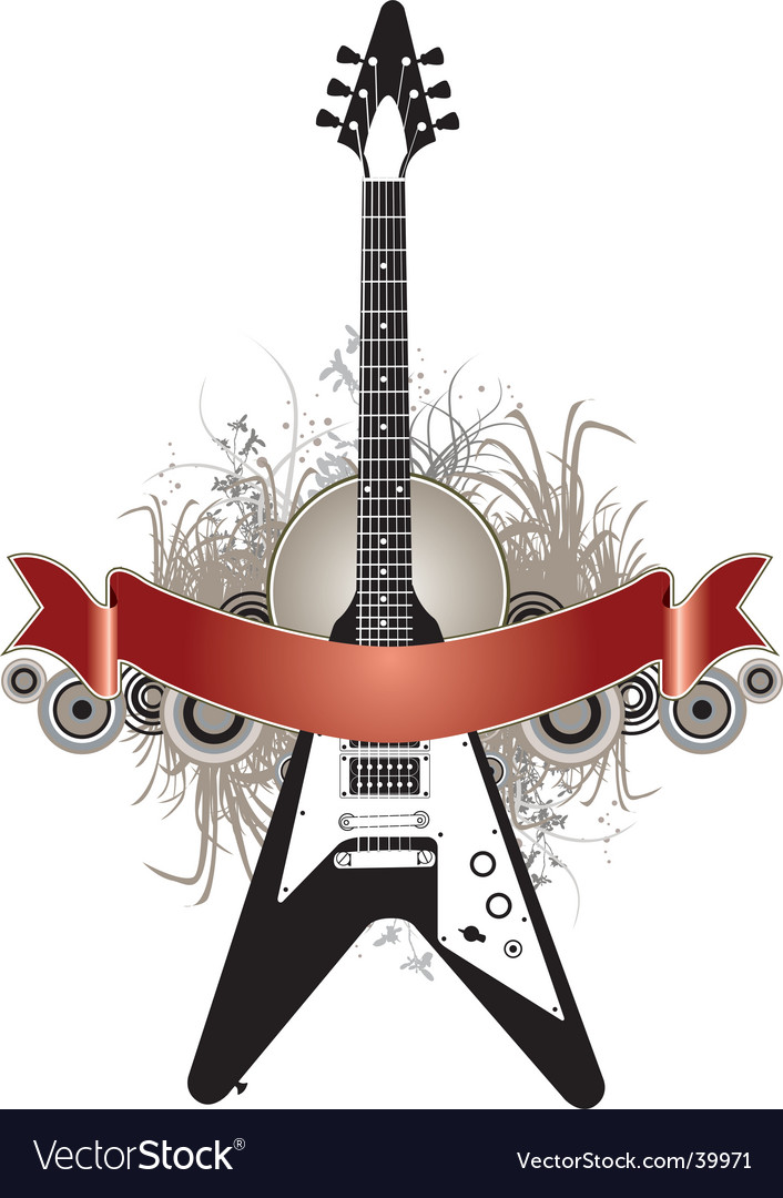 Guitar banner background vector | Price: 1 Credit (USD $1)