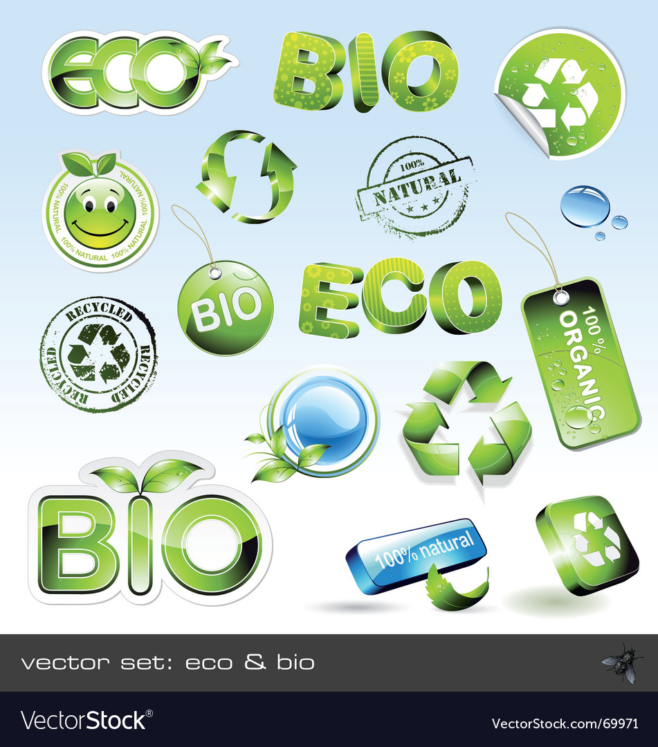 Icon set eco and bio vector